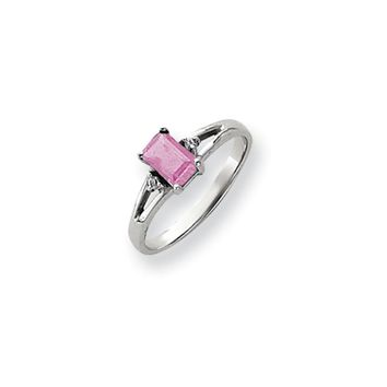 0.024 Ct  14k White Gold 6x4mm Emerald Cut Pink Tourmaline Diamond Ring SI2/SI3 Clarity and G/I Color