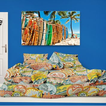 Surfer Bedding California Vintage Surf Stickers Eco Friendly Surf Comforter