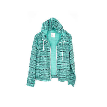 Tribal Print Mint Windbreaker Hooded Jacket / Zine Hoodie / large
