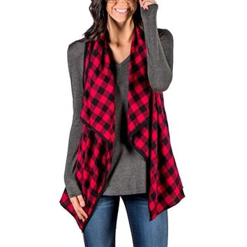 New Fashion 2017 Women Plaid Waistcoat Autumn Ladies Sleeveless Lapel Casual Loose Cardigan Vest Jackets