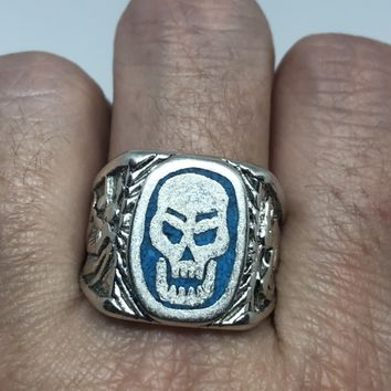 Vintage Gothic Southwestern Real Turquoise Inlay Skull Mens Ring