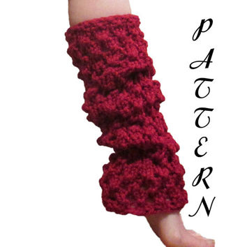 Women's Leg Warmers Knitting PDF Pattern - Slouchy Leg Warmers - Long Leg Warmers - Chunky - Textured - Download