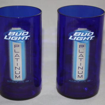 Drinking Glasses - Recycled Beer Bottle - Bud Light Platinum  - 8 oz.