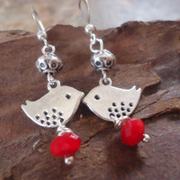 SILVER PIEPS & CRYSTAL earrings from Tibet silver by AsaiBolivien $7,90