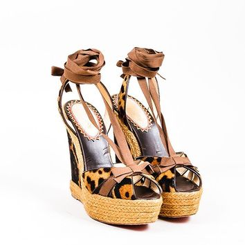 KUYOU Brown Christian Louboutin Leopard Ponyhair  Isabelle  Espadrille Wedges