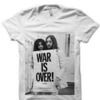 JOHN & YOKO WAR IS OVER T-SHIRT JOHN LENNON T-SHIRT THE BEATLES SHIRTS FANS WOMENS SHIRT FLAWLESS BEYONCE FANS