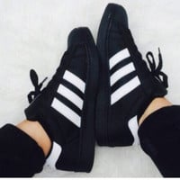 """ADIDAS"" Trending Fashion Casual Sports Shoes Black white line"