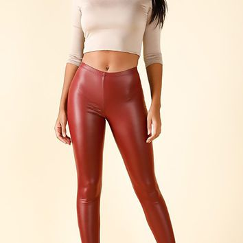Ring The Bell Burgundy PU Faux Leather Skinny Leggings Pants