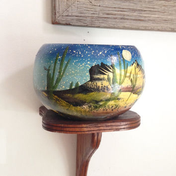 Vintage Hand Painted Desert Night Planter/ Mexican Clay Pot/ Mexican Folk/ Cactus planter