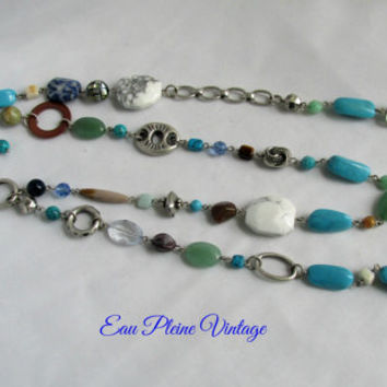 Mix Beaded Two Strand Necklace Boho Bohemian Hippie Turquoise Lia Sophia