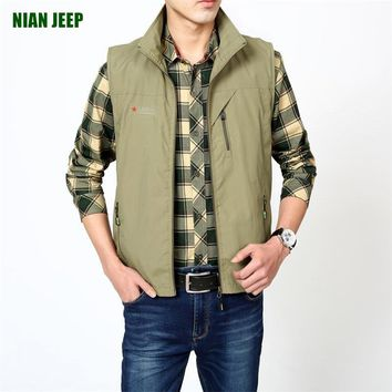 Genuine NIANJEEP new style summer new casual loose vest collar vest jacket male large size travel vest Back detachable