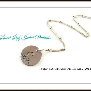 Handstamped Initial Monogram Necklace Personalized Gift
