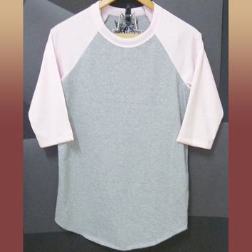 S M L Blank Raglan top pink gray baseball tshirt crew neck tee/ plain t shirt/ printing/ cute workout shirt/ casual tee/ men women clothing