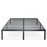 Queen Size Sturdy Black Metal Platform Bed Frame with Headboard Attachments