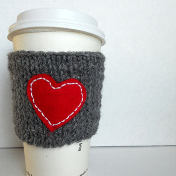 I love my coffee knitted coffee cup cozy , wrist warmer, gray cozy with red heart