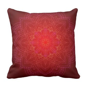 Red & Yellow Glowing Mandala Accent Pillow