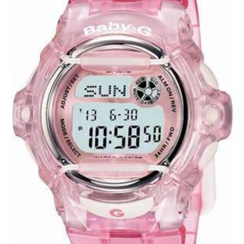 New Casio Baby G Whale   Crystal Pink Band   World Time Chronograph   200 Meters