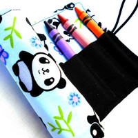 Kawaii Panda Crayon Roll  - Pandas, Blue, Kawaii, Black, Crayon Roll, 8 Crayons