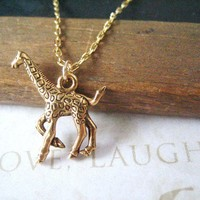 LEGGS giraffe charm necklace gold by brideblu on Etsy