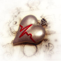 ECG heart pendant Heart disease awarenes statement by UraniaArt
