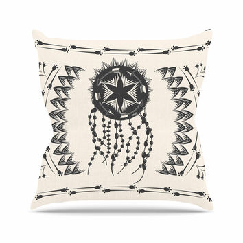 "Famenxt ""Bohemian Dream Catcher Boho"" Black Beige Throw Pillow"