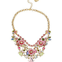 Betsey Johnson Flower & Crystal Bug Frontal Necklace | Dillards.com