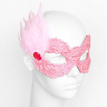 Pink Embroidery Masquerade Mask With Feathers -  Lace Applique Covered Venetian Style Prom Mask