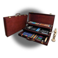 Deluxe Pencil Art Set Sketching Kit Drawing Wooden Case Easel Artist Draw Box
