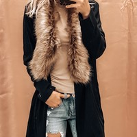 CAUGHT IN THE MOMENT FAUX FUR CARDI