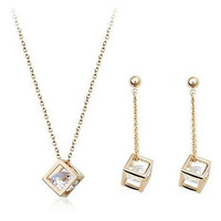 Cube Diamond Crystals Jewelry Set