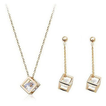 Cube inside CZ Diamond Crystals 18K Gold Plated Drop Earrings and Pendant Necklace Fashion Bride Wedding Jewelry Set