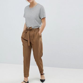 ASOS PETITE Woven Peg Pants with OBI Tie at asos.com