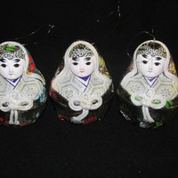 Vintage China doll Christmas ornaments - SET of 3 (black)