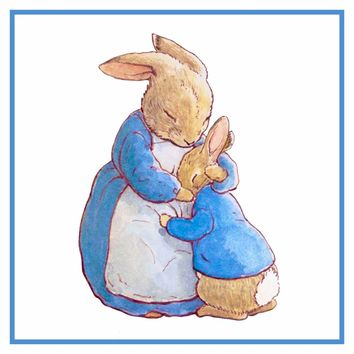 Mama Bunny Hugs Peter Rabbit inspired by Beatrix Potter Counted Cross Stitch Pattern