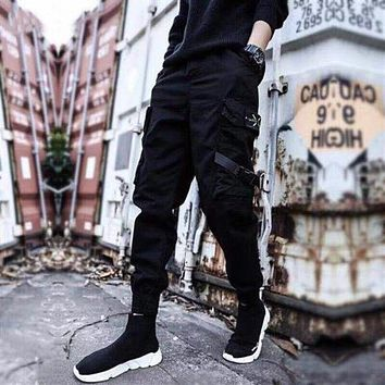 Streetwear Ribbons Casual Pants Men Black Slim Mens Joggers Pants