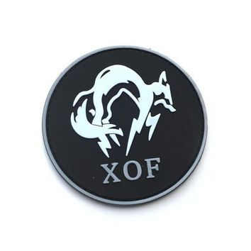 8CM Metal Gear Solid MGS XOF Badge Special Forces Armband 3D PVC Patch 3D PVC RUBBER ROUND PATCH military patch