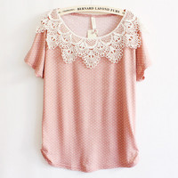 Cute Womens Lace Crochet Collar Shirts for Summer