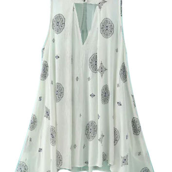 White Tribe Pattern Sleeveless Swing Dress
