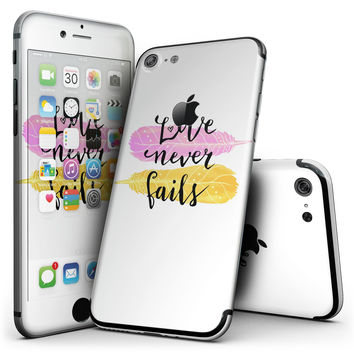 Yellow and Pink Love Never Fails - 4-Piece Skin Kit for the iPhone 7 or 7 Plus