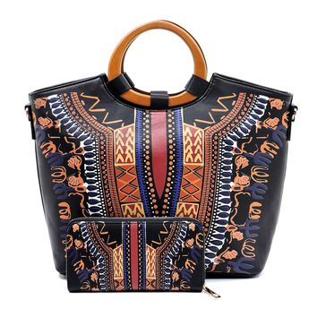 Black Dashiki Print Vegan Leather Handbag Tote with Wooden Handle and Matching Wallet