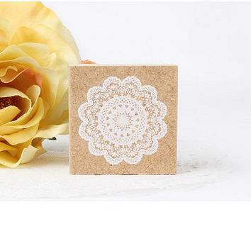 Stamp Wooden Rubber Flower Round Lace / Craft Favour Calligraphy Scrapbooking Wedding Party card making Romance Stationery #502