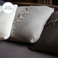 Handmade Chunky Crochet Knit Throw Pillow with Wood Buttons