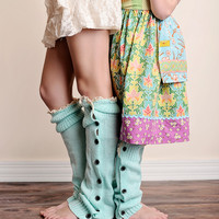 Mint Button Down Boot Socks - Available for Girls and Women!
