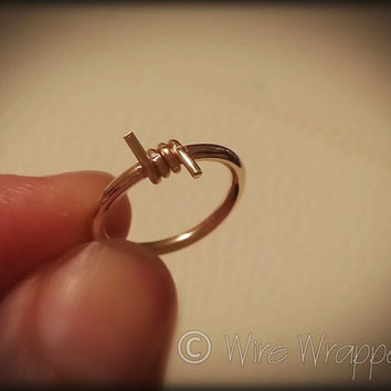 BARBED Wire Captive Bead Navel Belly Ring Hoop - VARIETY 14 gauge - 14k Solid Gold or Gold Filled (Yellow, Rose, White), Sterling Silver