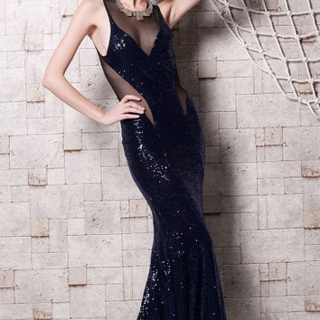 Purple Halter Perspective Net Yarn Stitching Fishtail Hem Sequined Mopping The Floor Evening Dress