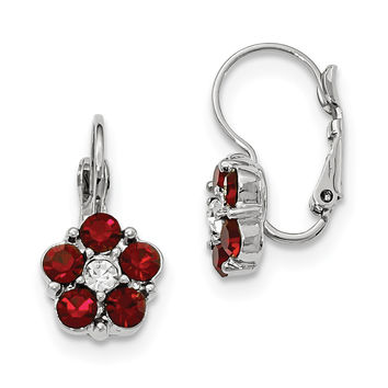 Silver-tone Red & Clear Crystal Flower Shaped Leverback Earrings BF1713