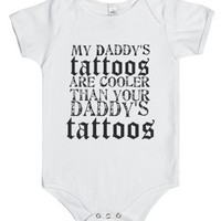 Daddys tattoos-Unisex White Baby Onesuit 00
