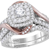 14k White Gold Rose-tone Womens Natural Round Diamond Certified Double Halo Bridal Wedding Ring Band Set 1 & 1/2 Cttw