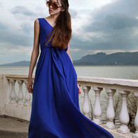 Gorgeous Bow Knot Strapped Sleeveless Long Maxi Dress 2 Colors