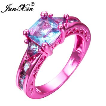 JUNXIN Fashion Female Girl's Light Blue Geometric Ring Pink Gold Filled Wedding Rings For Women Vintage Jewelry New Year Gifts